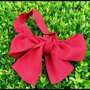VINTAGE Vicky Davis Classic Red Silk Bow Scarf
